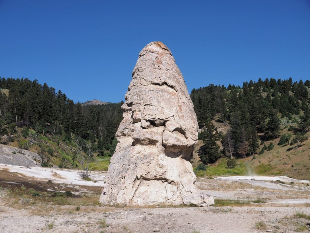 Liberty Cap formation at Mammoth Hot Springs.