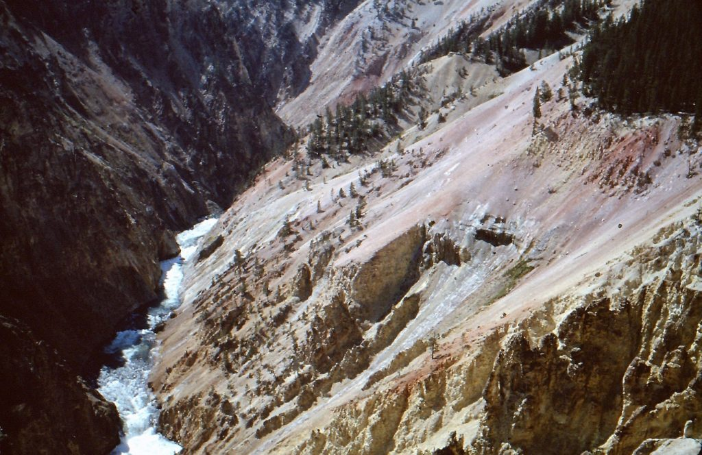 Vintage shot of Yellowstone River in the Grand Canyon, from observation at Brink of Lower Falls.