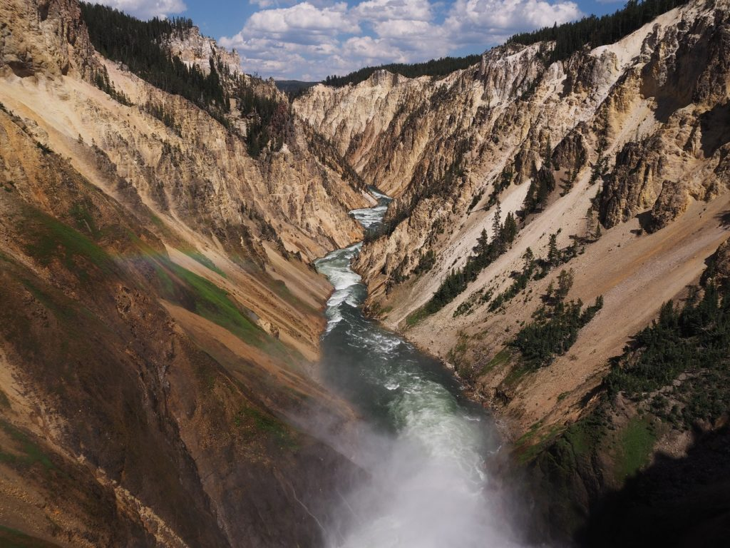 Present-day shot of Yellowstone River in Grand Canyon; taken from observtaion point at Brink of Lower Falls.