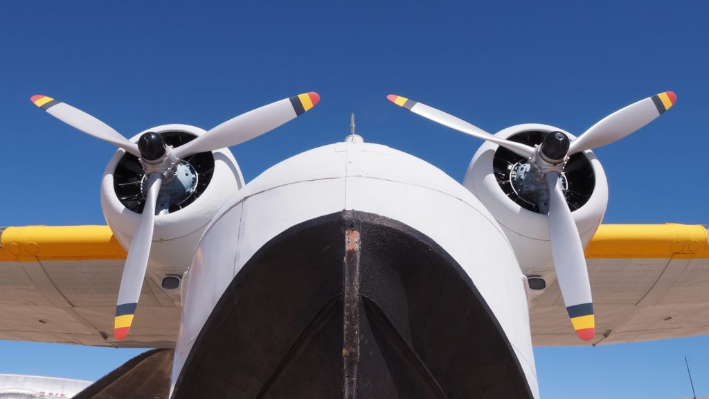 Two propellers seen from underneath.