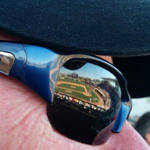 Reflection of spring training baseball field in sunglasses