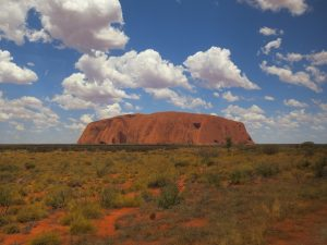 View of Uluru (Ayer's Rock) in the distance.