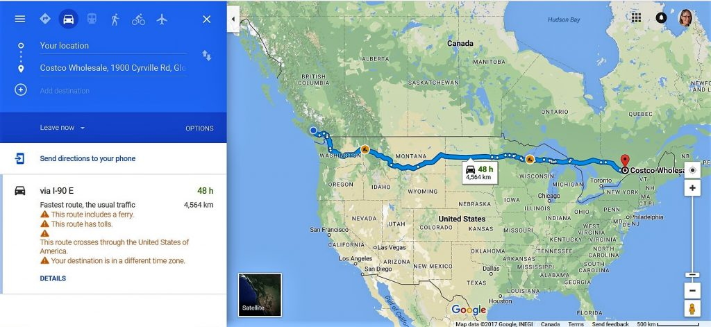 Screenshot of driving directions from Comox BC to Ottawa ON.