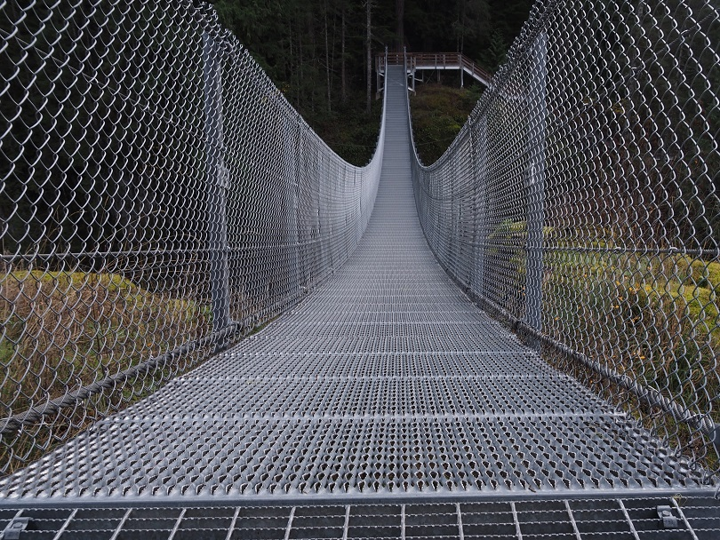 Straight-on view of suspension bridge, showing significant droop.