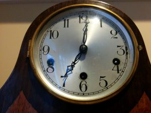 Face of chiming clock from 1920s.