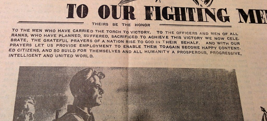 Prayer for peace at end of WWII, printed in rural Alberta newspaper