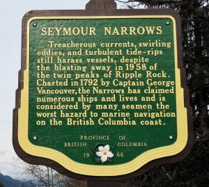 Historical plaque overlooking Seymour Narrows and site of Ripple Rock.