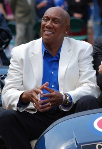 Ferguson Jenkins in a golf cart at Wrigley Field.