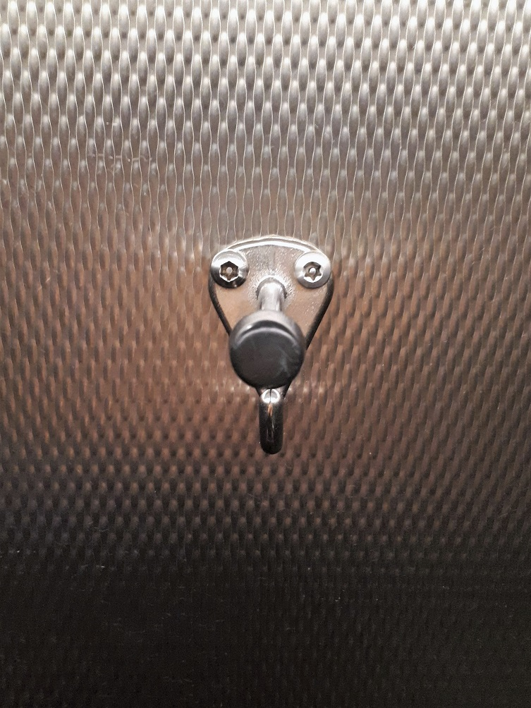 Hook on back of bathroom door that reminded me of Rudolph.