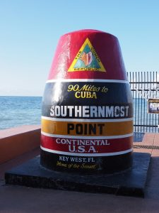 Buoy statue marking 90 miles to Cuba, in Key West..