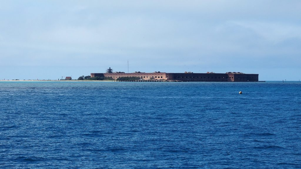 View of fort on horizon from ferry.