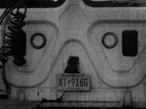 Accidental face on back of semi-truck cab.
