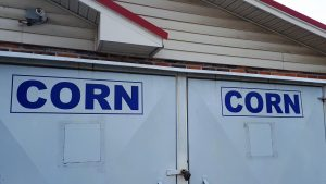 Corn bins at southern gas station.