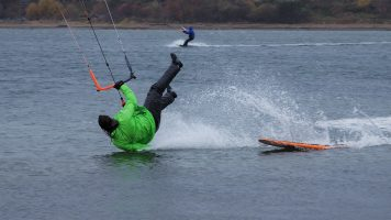 Windsurfer crashing into water