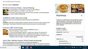 "Print screen of Google search results for ""hummous"""