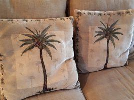 Throw cushions with sabal palmetto motif