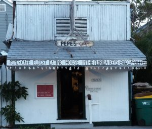 Old clapboard house as oldest restaurant in Florida Keys.