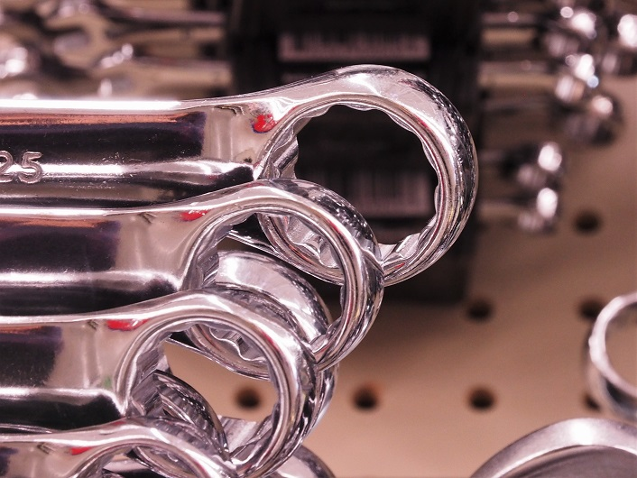 Close-up of ratchet wrench heads