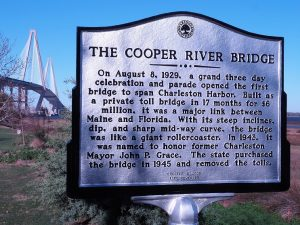 Plaque for original Cooper River Bridge with Arthur J. Ravenel Bridge in background