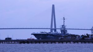 Yorktown aircraft carrier with Arthur Ravenel Bridge in background