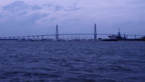 Middle-distance view of Arthur J. Ravenel Bridge and Yorktown aircraft carrier