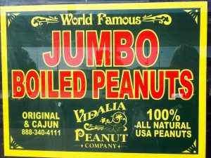 Sign advertising jumnbo boiled peanuts.