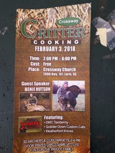Brochure for Critter Cooking class