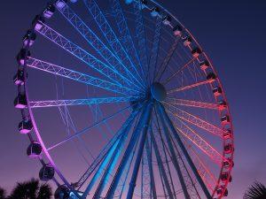 Multi-coloured Skywheel in Myrtle Beach, still.