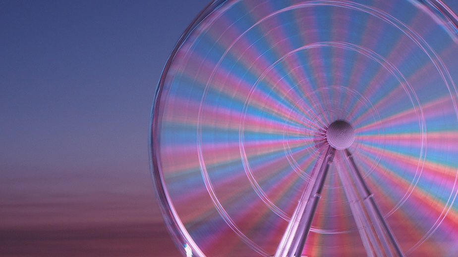 Myrtle Beach Skywheel in motion at sunset