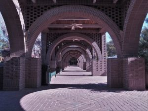 Walkway under brick arches