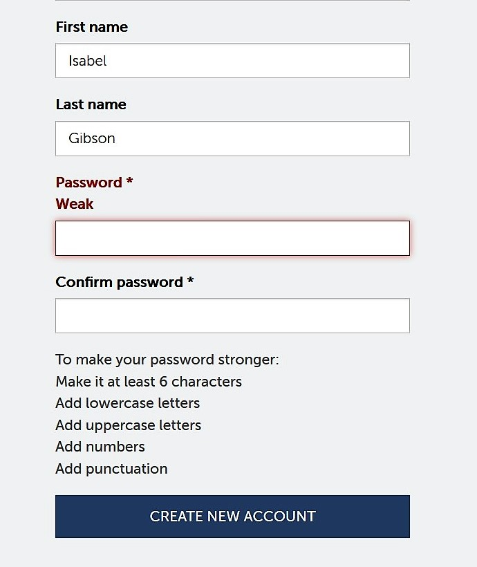"""Screenshot of accoutn set-up page; empty password field showing as """"weak."""""""