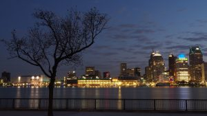 Detroit skyline before sunrise.