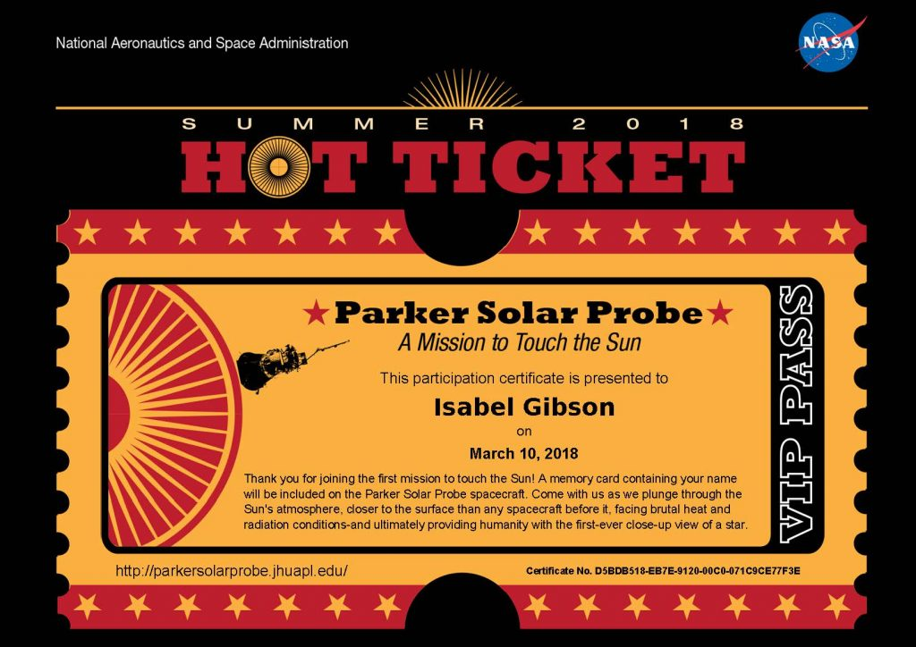 Official NASA ticket for Parker Solar Probe
