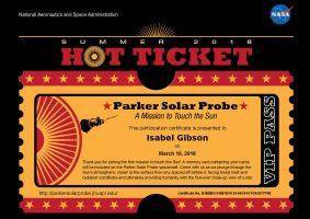 Official NASA ticket for Parker Solar Probe