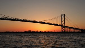 Detroit side of Ambassador Bridge at sunset