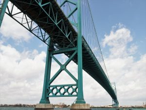 Ambassador Bridge from river level, underneath main span