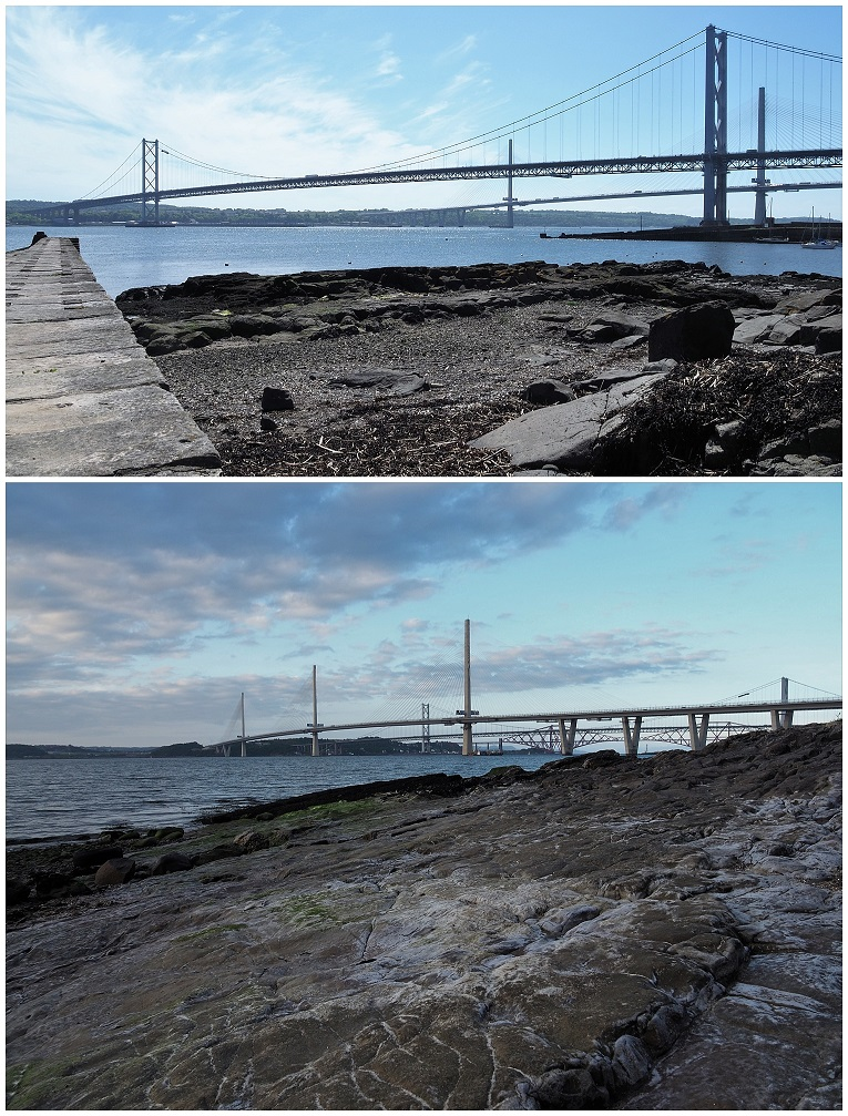 All 3 bridges over the Firth of Forth, in 2 views
