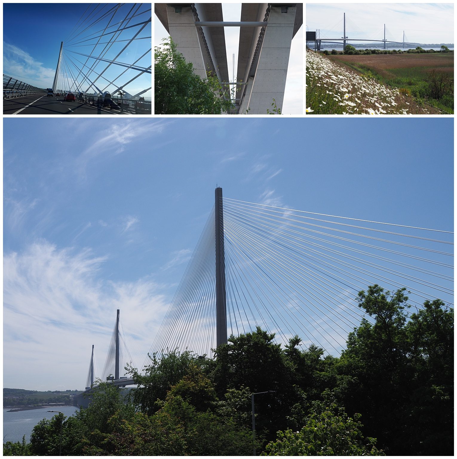 The new cable-stayed bridge for road traffic across the Firth of Forth: 4 views.