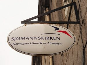 Sign for Norwegian Church in Aberdeen