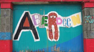 Graffiti-style sign for Aberdeen city