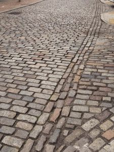 Paving stones on hill in Aberdeen
