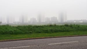 Aberdeen skyline obscured by fog