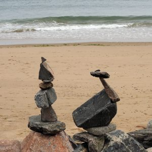 Rock piles along Aberdeen beach