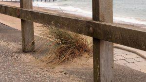 View of esplanade railing along Aberdeen beach