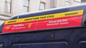 Incomprehensible sign on armoured truck.