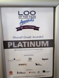 "Sign citing award for ""Loo of the year"""