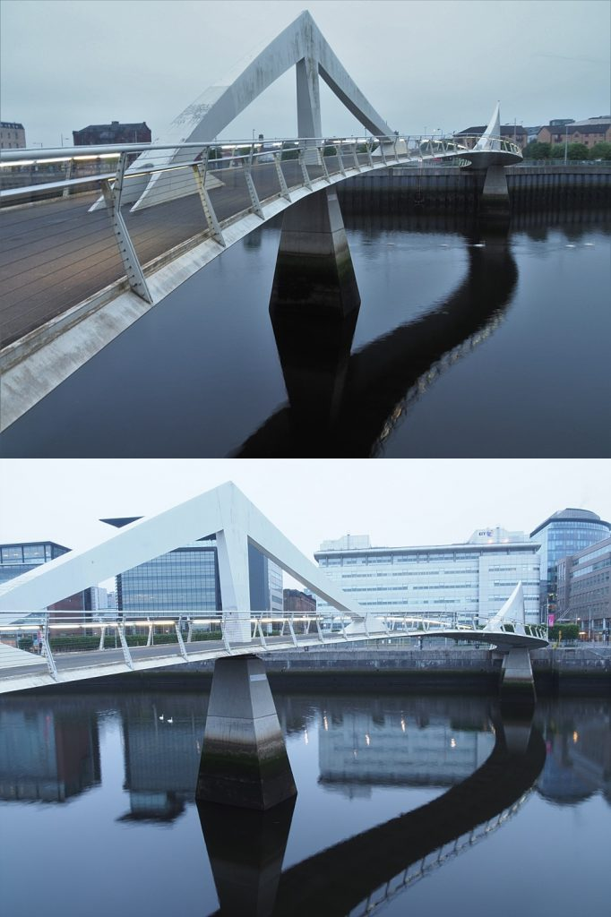 Early morning views of the pedestrian bridge across the River Clyde, from both ends.