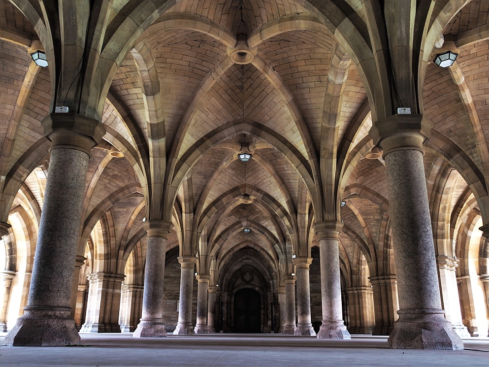 Floor-level shot of Cloisters at University of Glasgow
