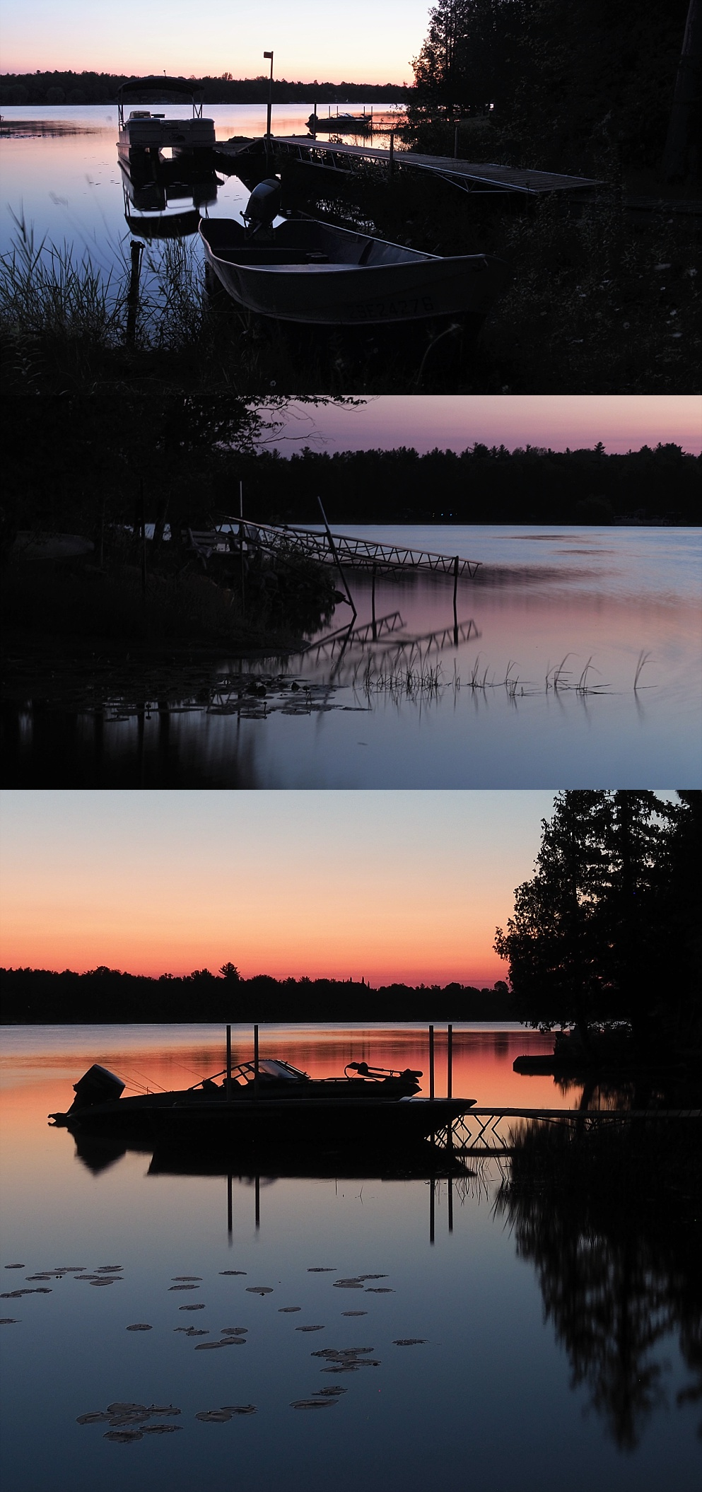 3-photo collage of sunrise shots at White Lake ON