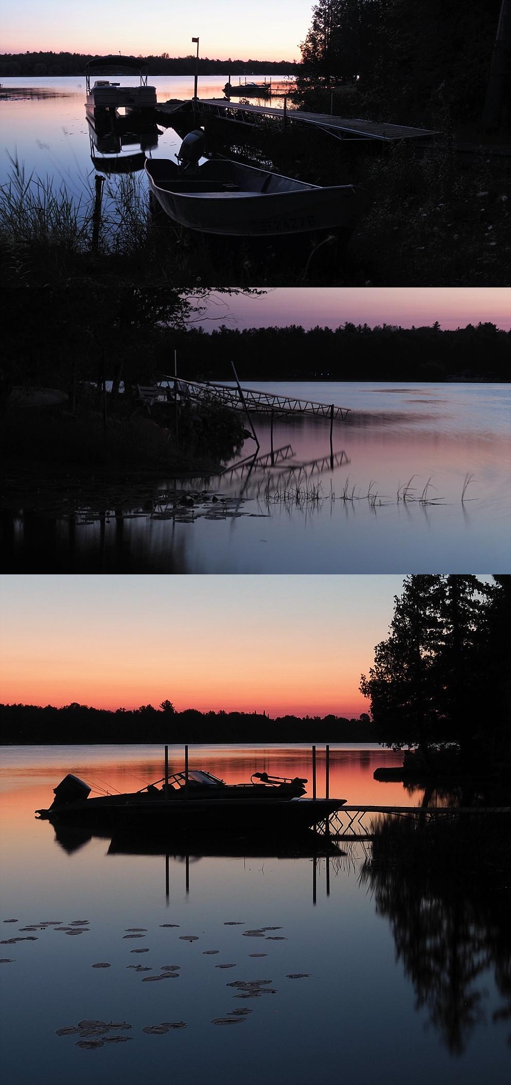3-photo collage of sunrise shots at White Lake ON
